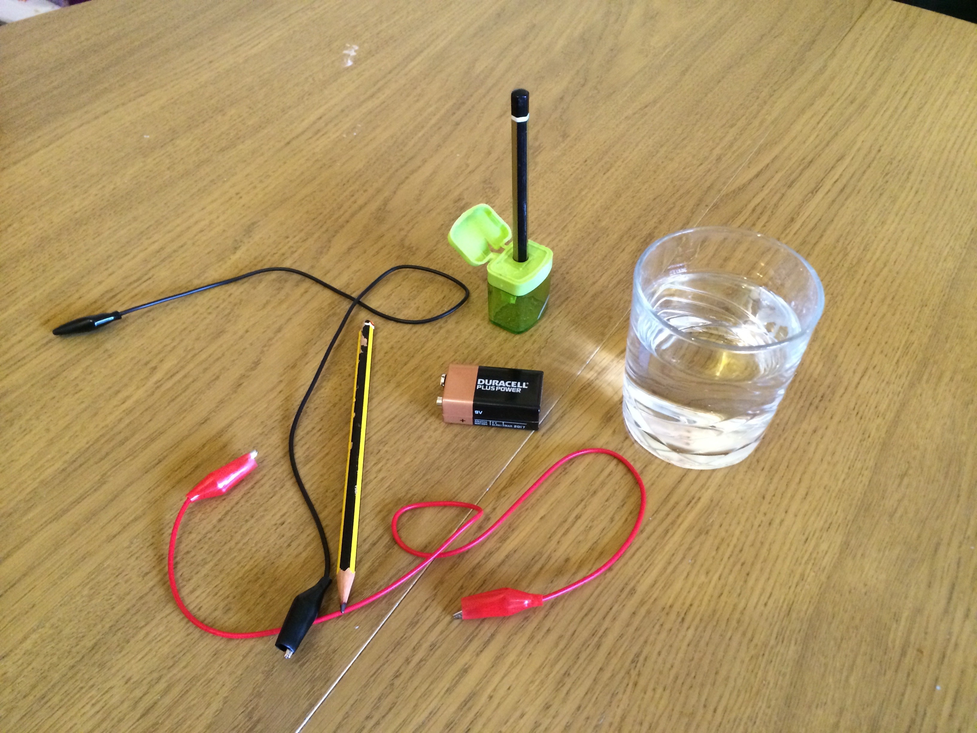 Electrolysis of Water: with Pencils and a 9V Battery